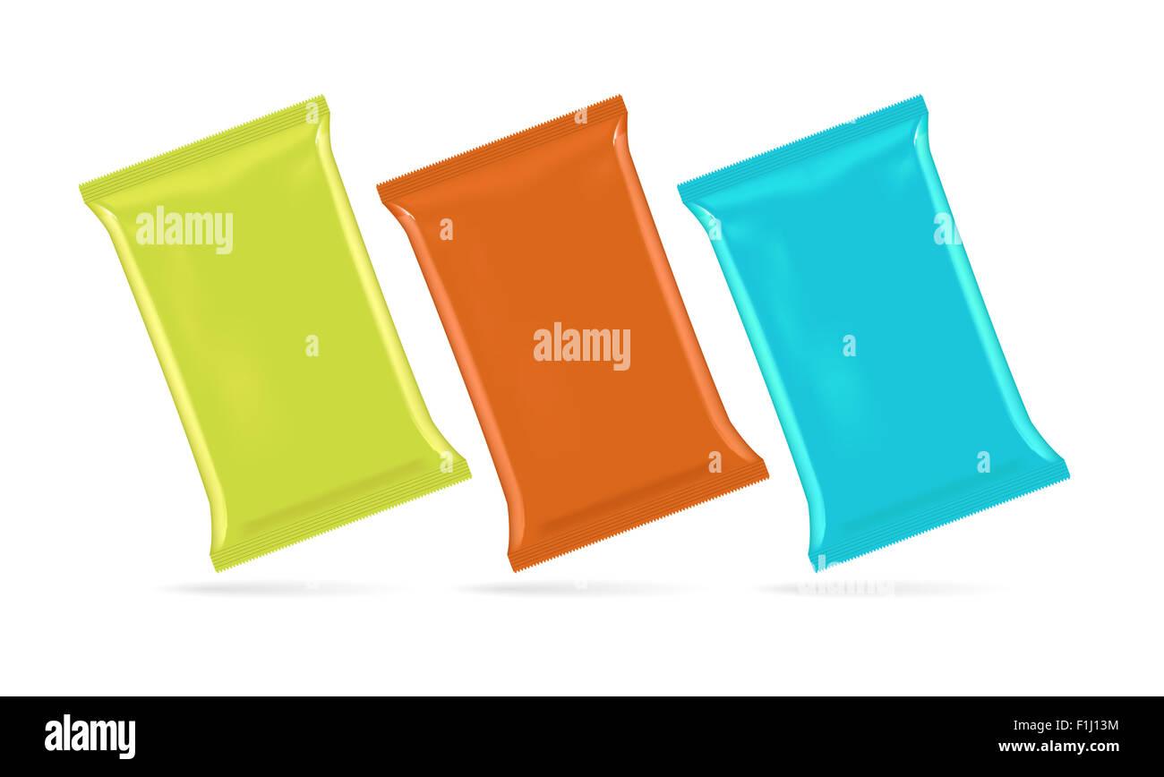 Illustrazione Vettoriale di lamina in borsa per potato chips, caffè, zucchero, snack e cibo spazzatura, eps10 Immagini Stock