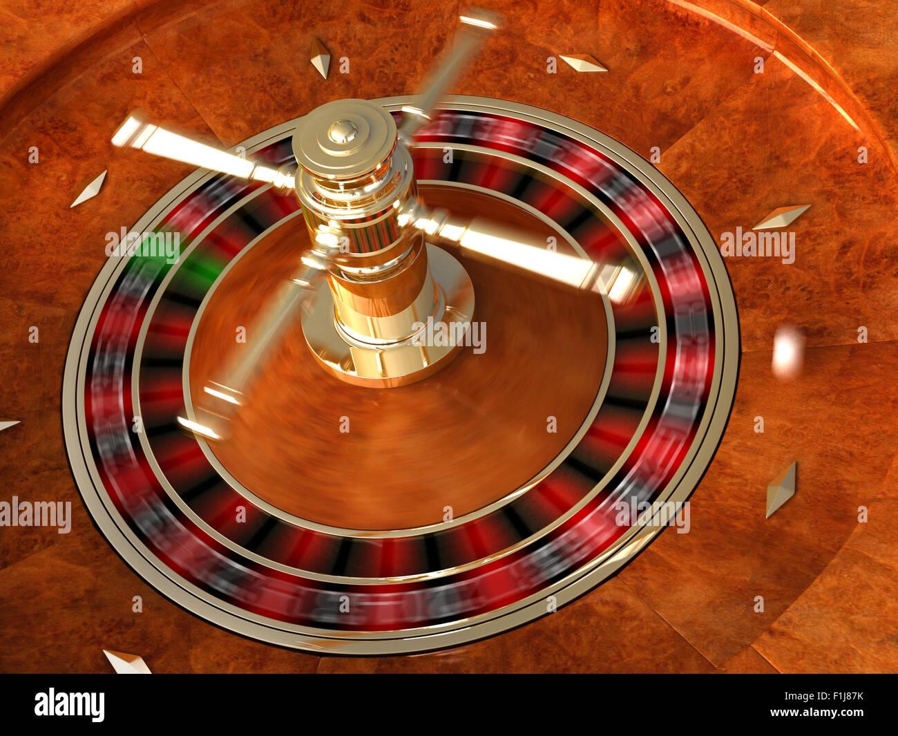 3D render di rotazione di casino roulette con simulazione di sfocatura del movimento Immagini Stock