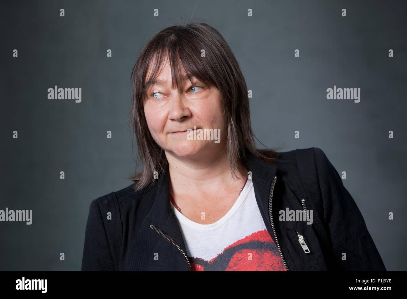 Ali Smith, autore scozzese e romanziere al Edinburgh International Book Festival 2015. Edimburgo, Scozia. 15 Agosto Immagini Stock