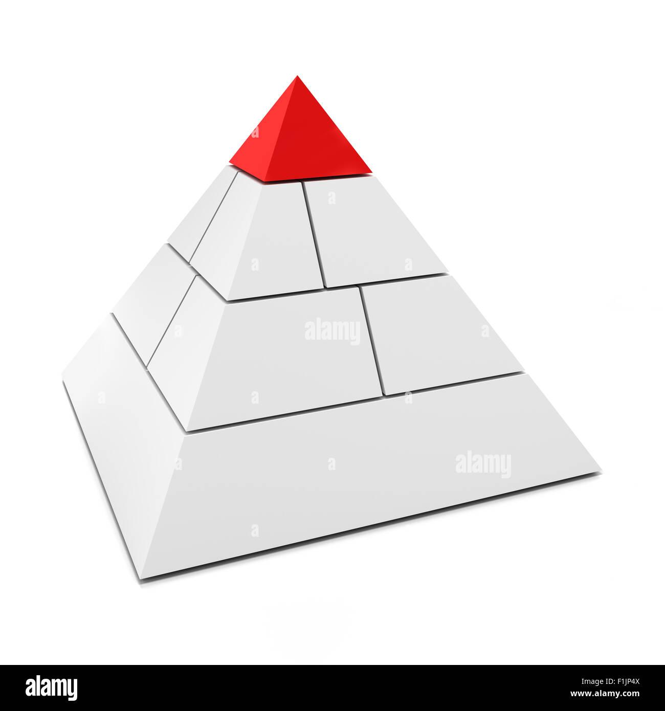 Fustellato 3d piramide con il pezzo superiore in rosso Immagini Stock