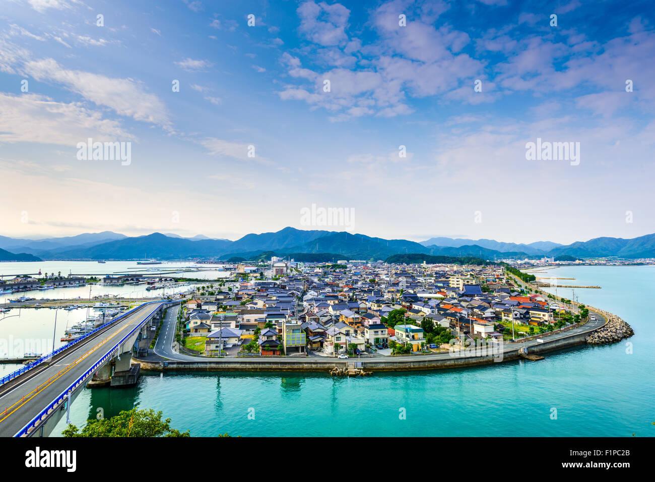 Senzaki, Nagato, Yamaguchi Giappone vista città. Immagini Stock