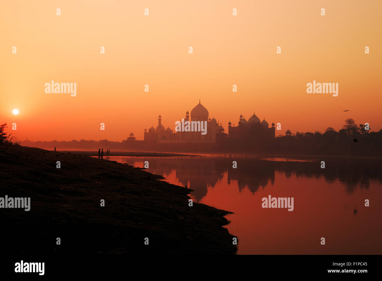 Un sunrise vista del Taj Mahal di Agra, India. Immagini Stock