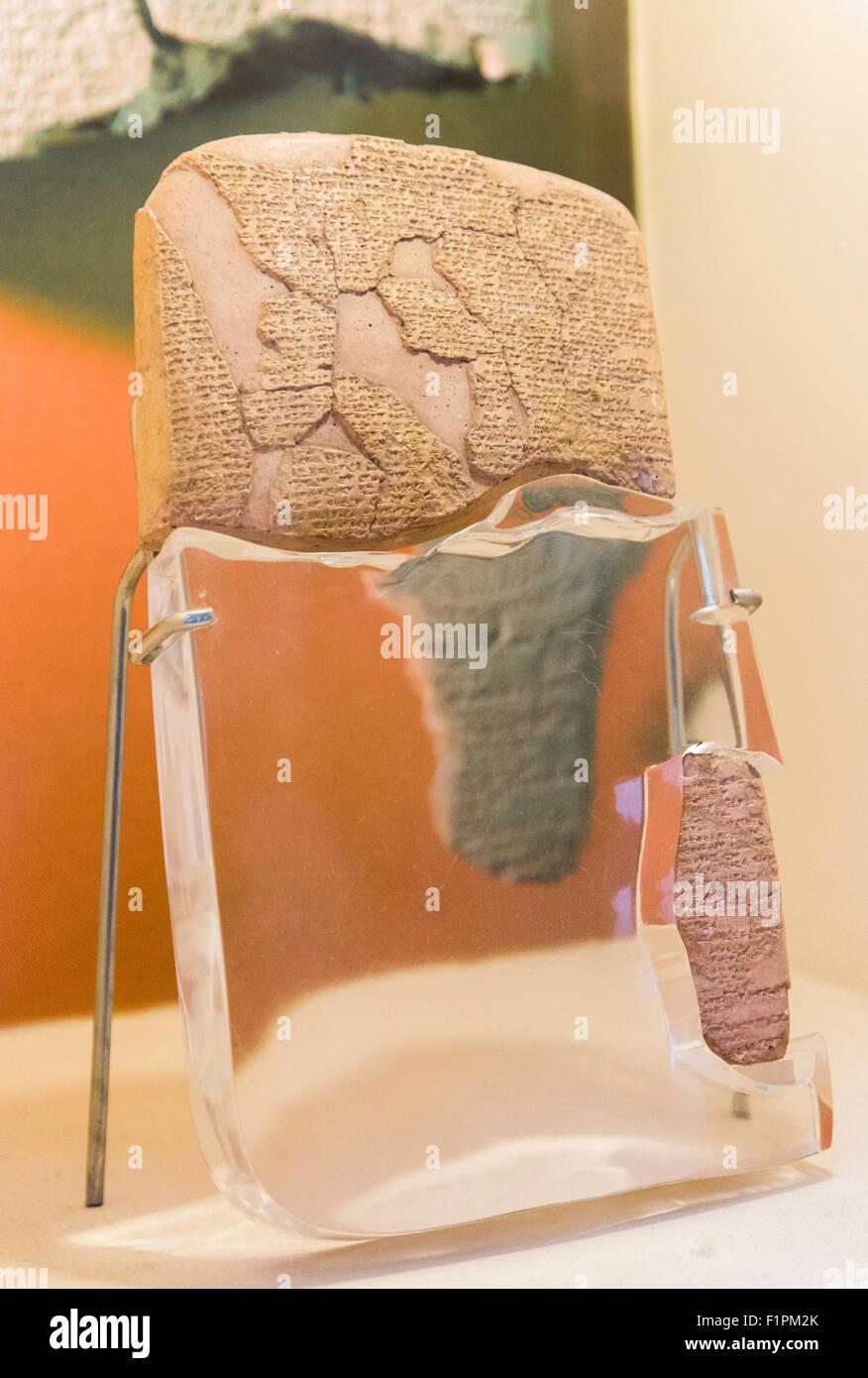 Il Kades trattato dal 1259 BC. I mondi primo trattato di pace sul display nel Museo Archeologico di Istanbul in Immagini Stock