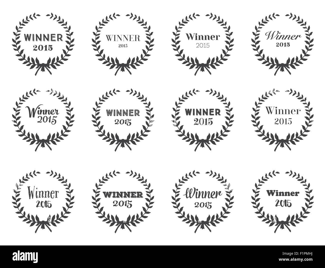 Le Corone Di Alloro Set Di Vettore Di Disegno Tipografica