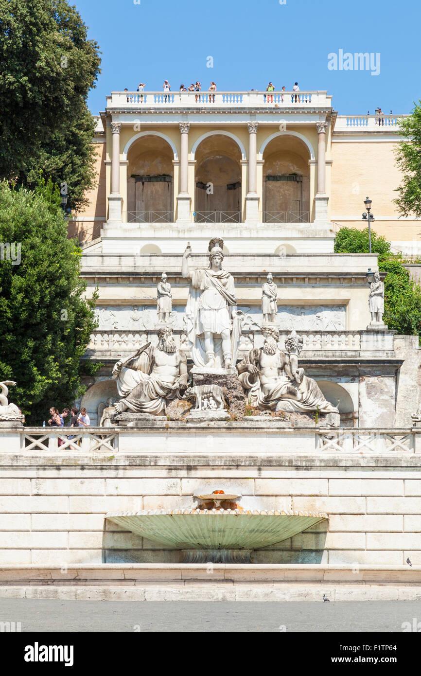 Fontana della Dea Roma in Piazza del Popolo Roma Lazio Italia Europa UE Immagini Stock