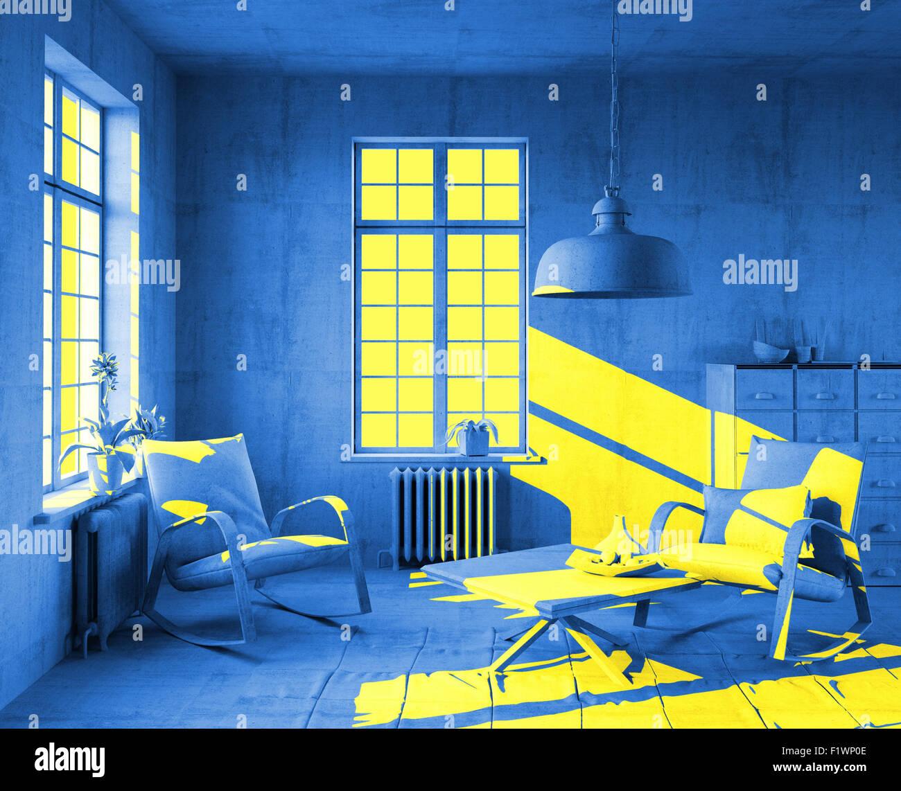 Luce del sole giallo in arte interni in stile. 3d concept Immagini Stock