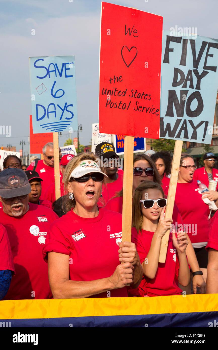 Detroit, Michigan - membri della Associazione Nazionale dei Gestori lettera di protesta dei piani per cinque giorni Immagini Stock