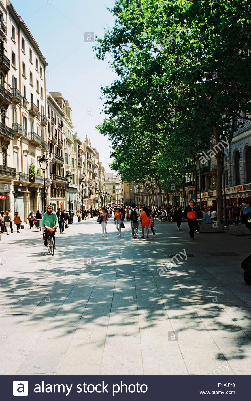 Barcellona vista sulle Ramblas, les Rambles Immagini Stock