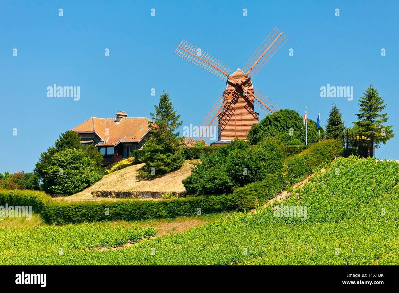 Francia, Marne, parco regionale delle Montagne de Reims, il mulino a vento di Verzenay Immagini Stock