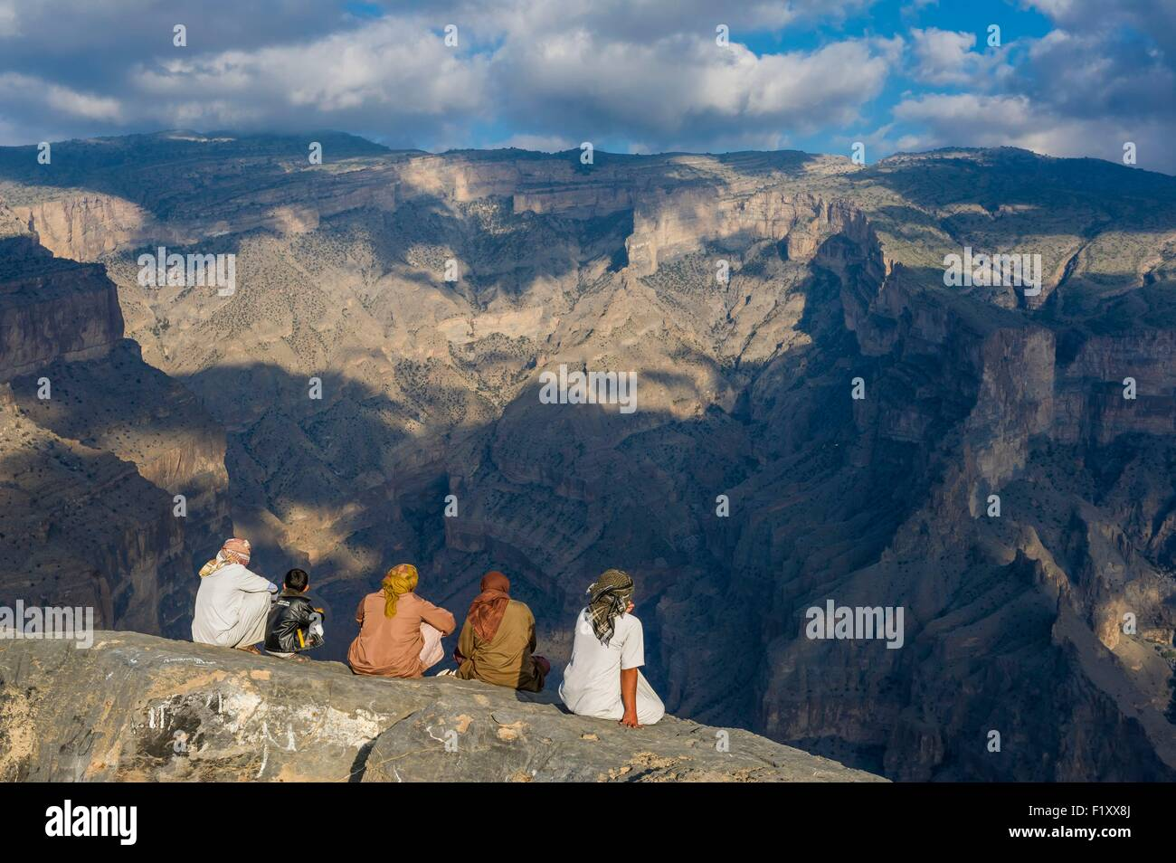 Oman, Djebel Shams, Oman Grand Canyon Immagini Stock