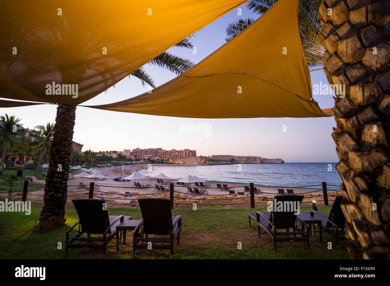 Oman, Moscato, Barr Al Jissah Resort, Shangri La Hotel, spiaggia Immagini Stock