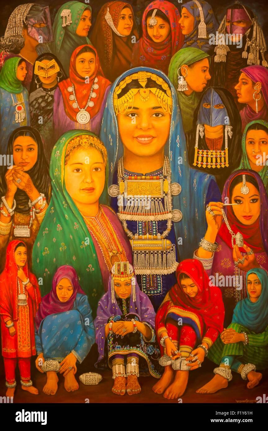 Oman, Moscato, il museo Bait Al Zubair, dipinti di identità Immagini Stock