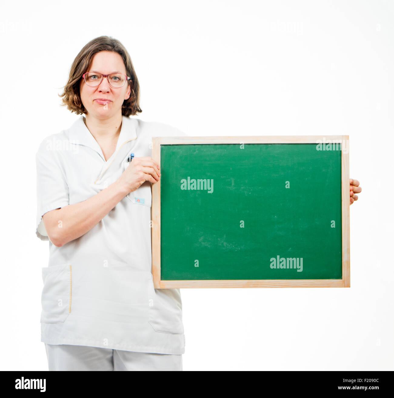Krankenschwester mit Tafel Immagini Stock