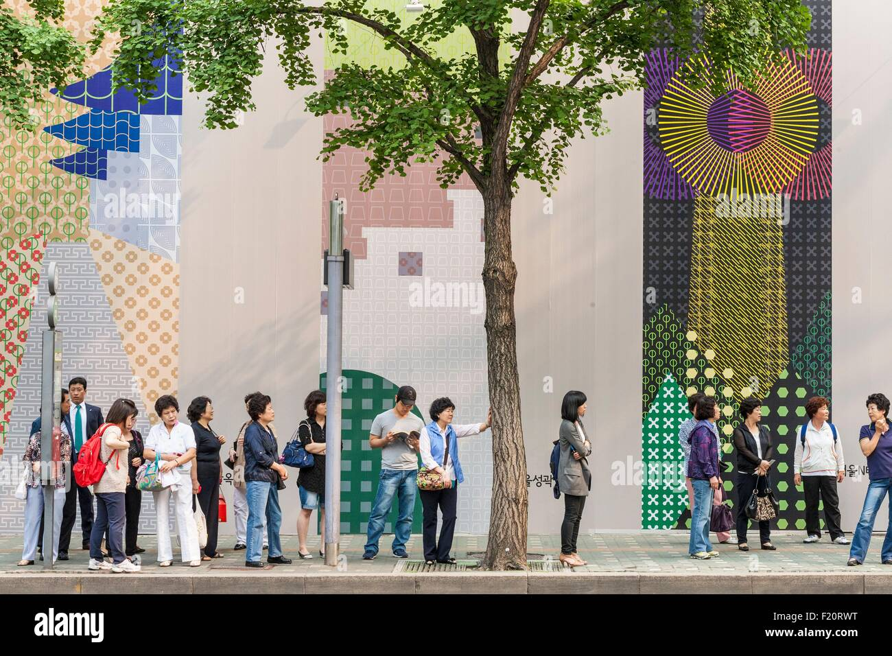 Corea del Sud, Seoul Jung-gu district bus stop Immagini Stock