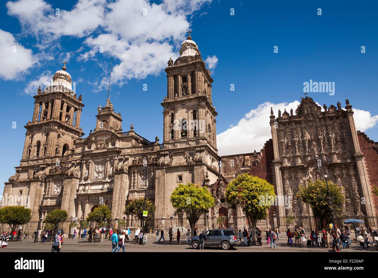 Cattedrale Metropolitana Catedral Metropolitana Asuncion de Maria in Plaza de la Constitucion Zocalo piazza Città Immagini Stock