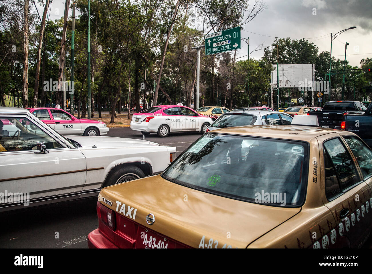 Inceppamento di traffico di Città del Messico Distretto Federale DF America del Nord Immagini Stock