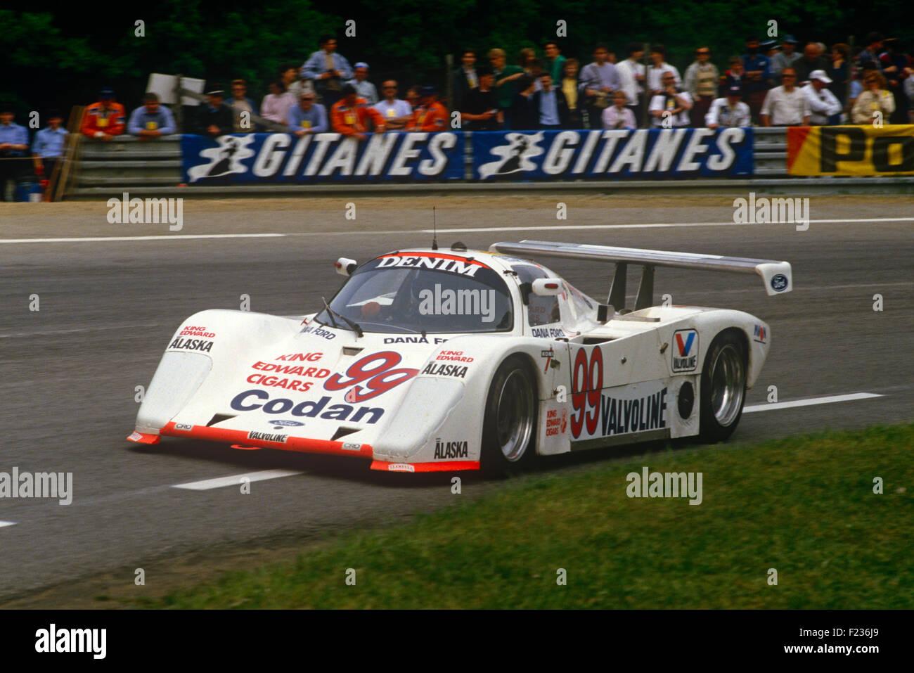 99 Paul Smith, Will Hoy e Nick Nicholson Tiga a Le Mans 16 Giugno 1985 Immagini Stock