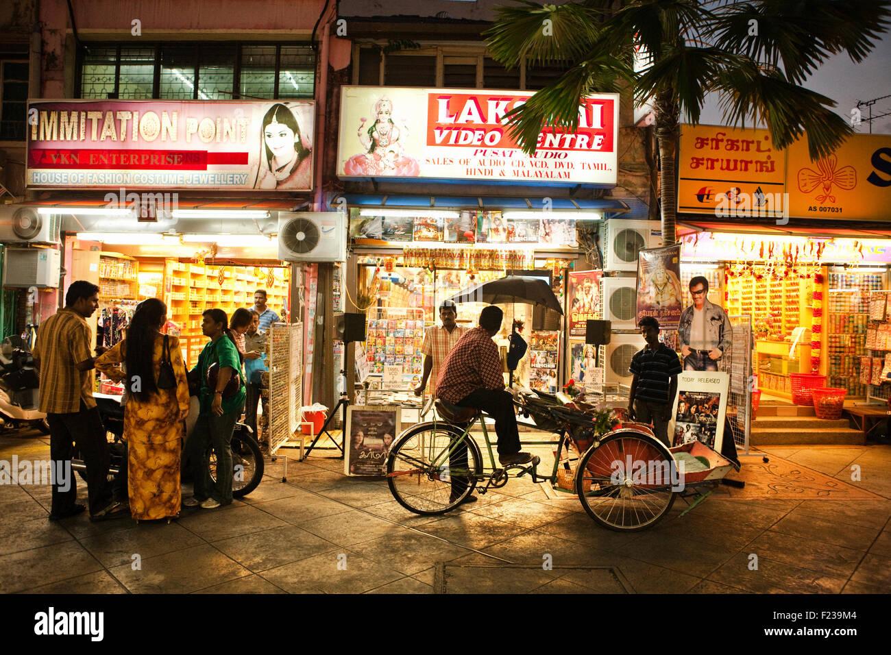 Little India al tramonto.George Town, Penang, Malaysia Foto Stock