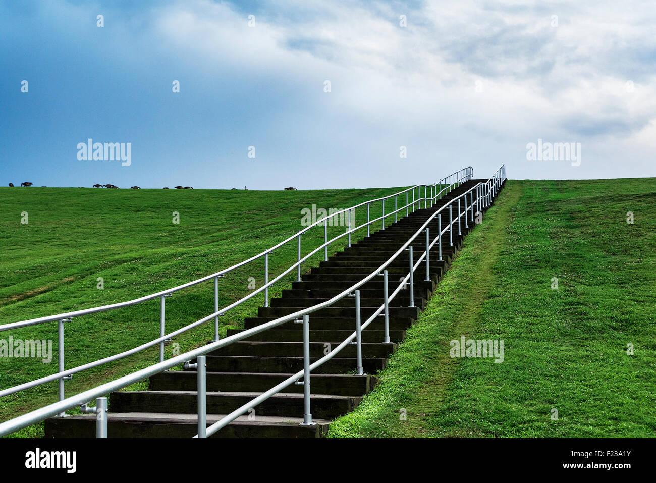 Mount Trashmore Park, un parco cittadino basato sul riutilizzo discarica, Virginia Beach, Virginia, Stati Uniti Immagini Stock