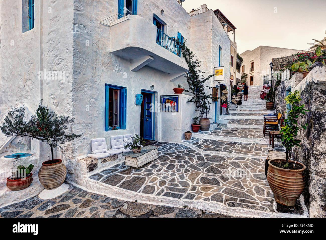 Il tradizionale villaggio di Plaka a Milos, Grecia Immagini Stock