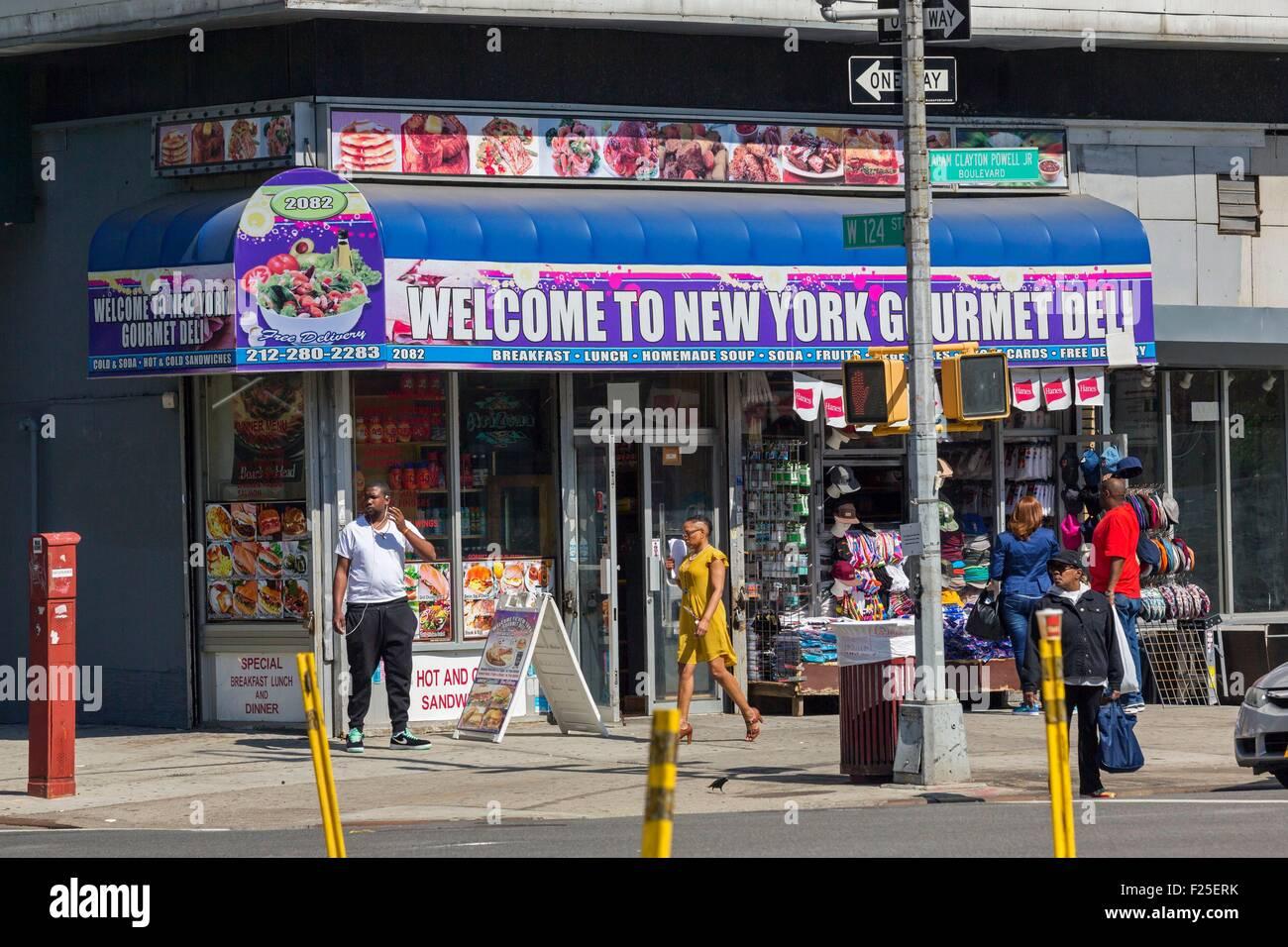 Stati Uniti, New York Manhattan Harlem, Deli fruttivendolo Immagini Stock
