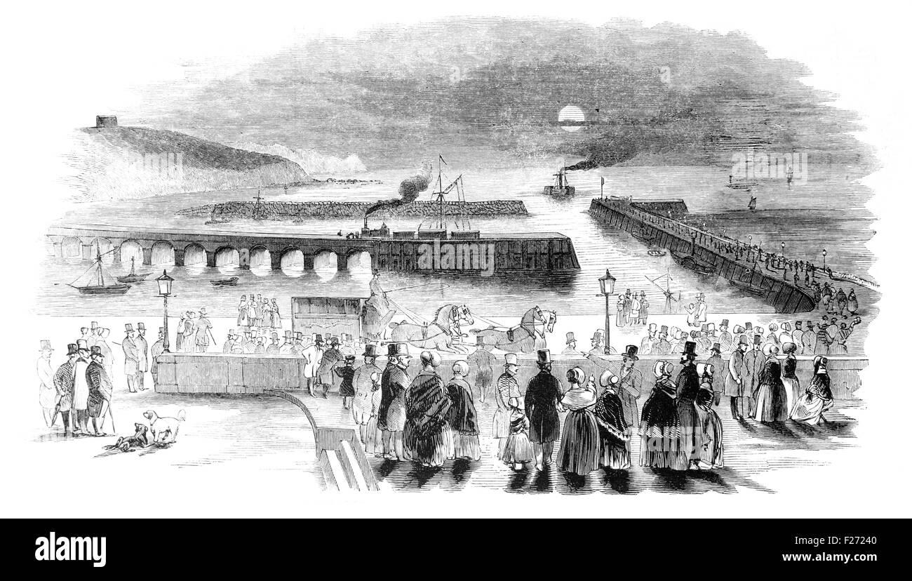 Arrivo della Posta indiano a Folkestone. Illustrated London News luglio 1844; Bianco e Nero illustrazione; Immagini Stock