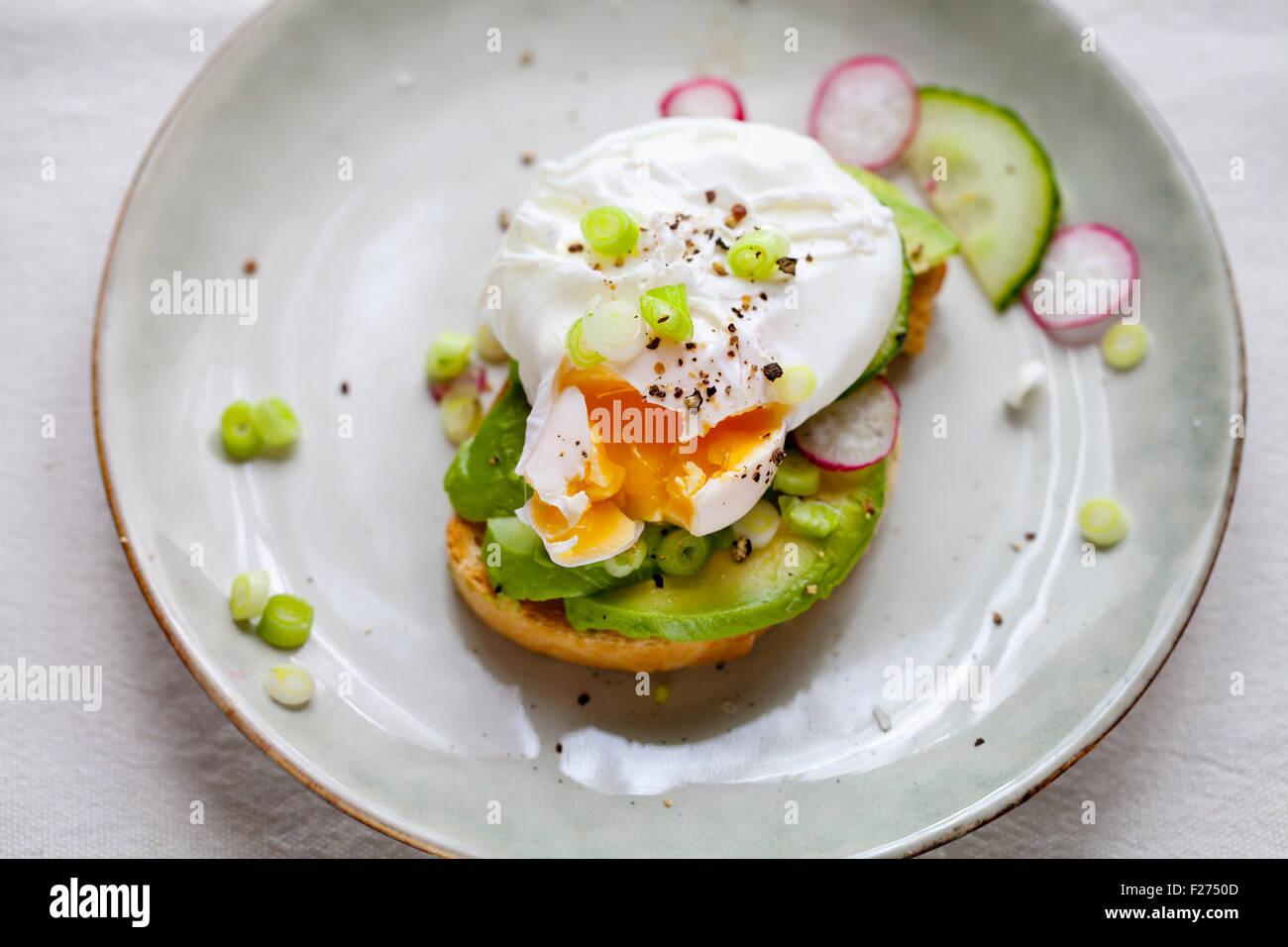 Toast con avocado e Uovo affogato Immagini Stock