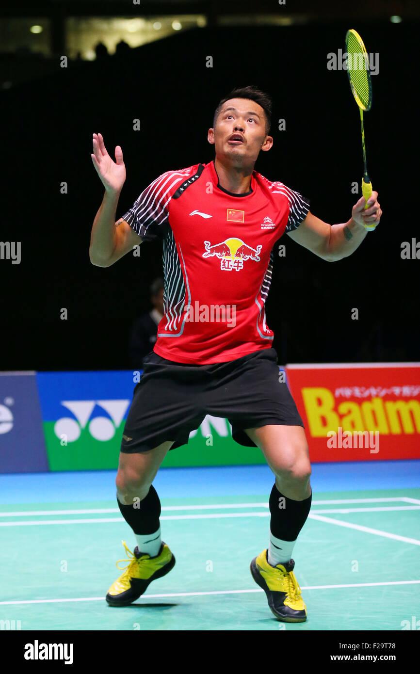 Tokyo Metropolitan Gymnasium, Tokyo, Giappone. Xiii Sep, 2015. Lin Dan (CHN), 13 settembre 2015 - Badminton : Overgrip Immagini Stock