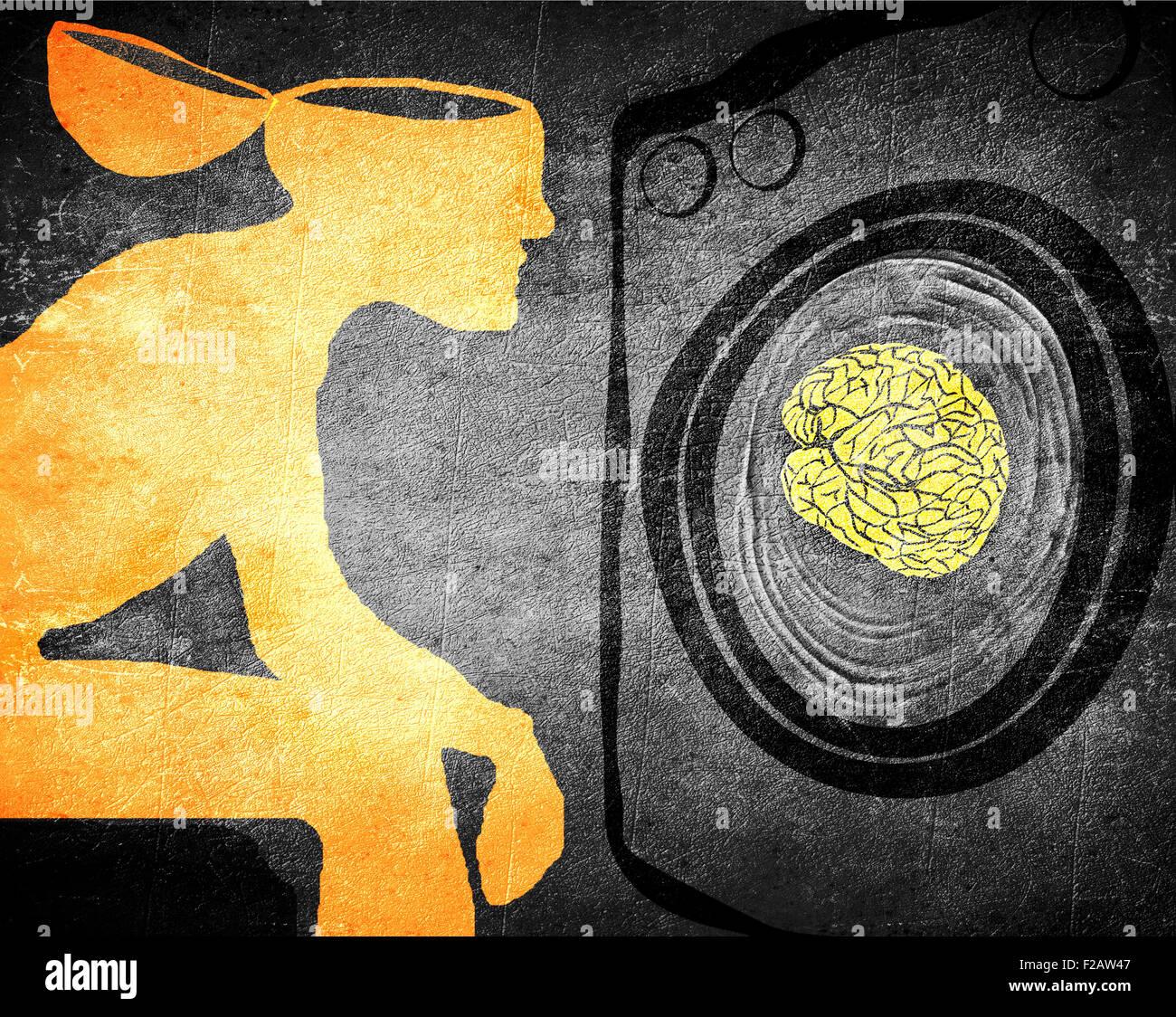 Il lavaggio del cervello concetto illustrazione Immagini Stock