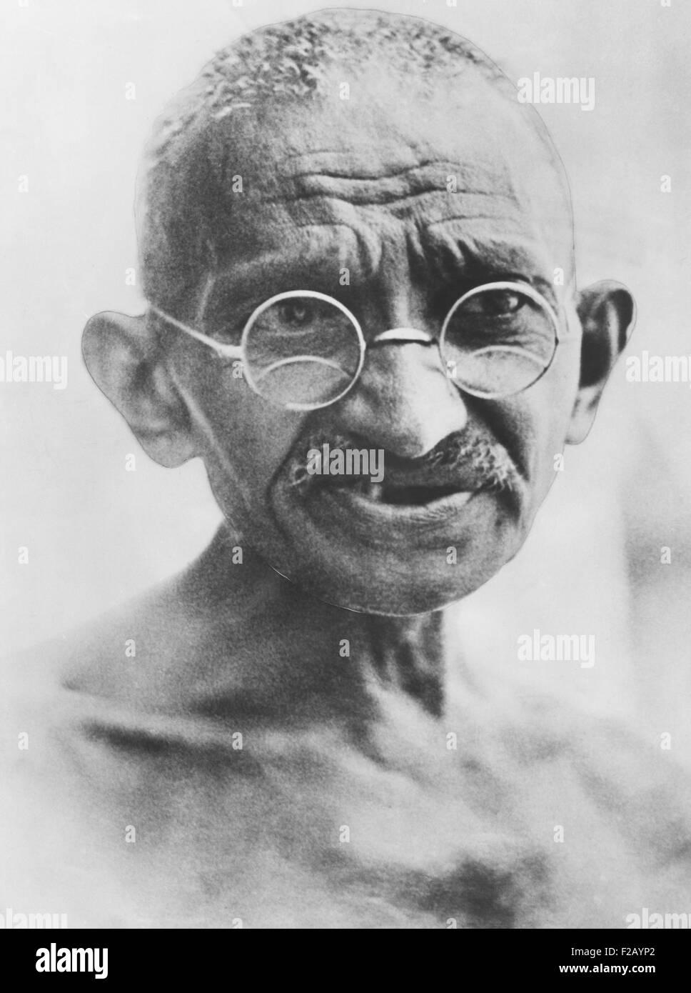 Il Mahatma Gandhi, il viaggio a 1931 Conferenza della Tavola Rotonda a Londra. Gandhi ha partecipato come rappresentante Immagini Stock