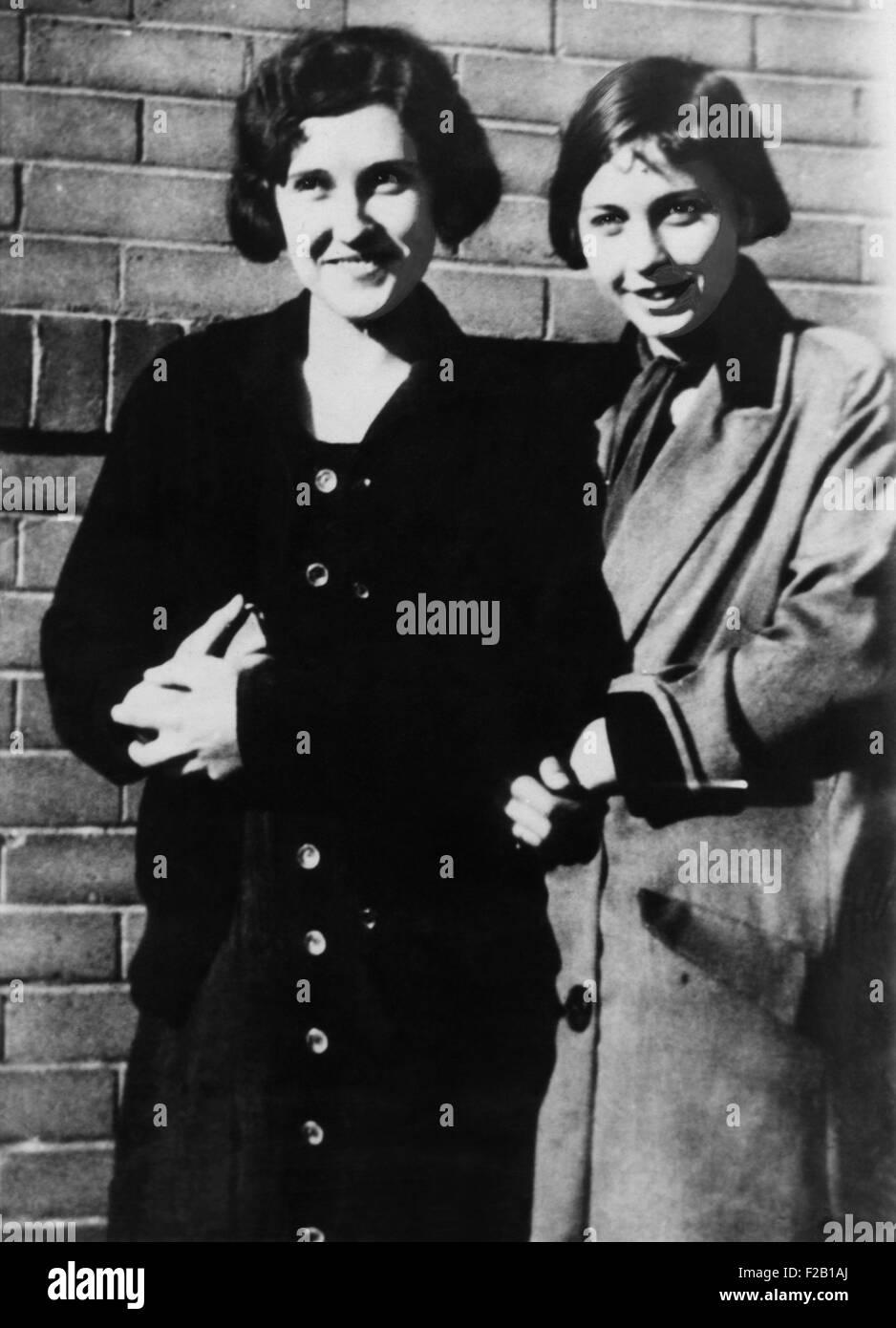 Vittime del 1931 Phoenix tronco di omicidi. La sig.ra Agnes Ann LeRoi (sinistra) e Miss Edvige Samuelson. Ca. 1931. Immagini Stock