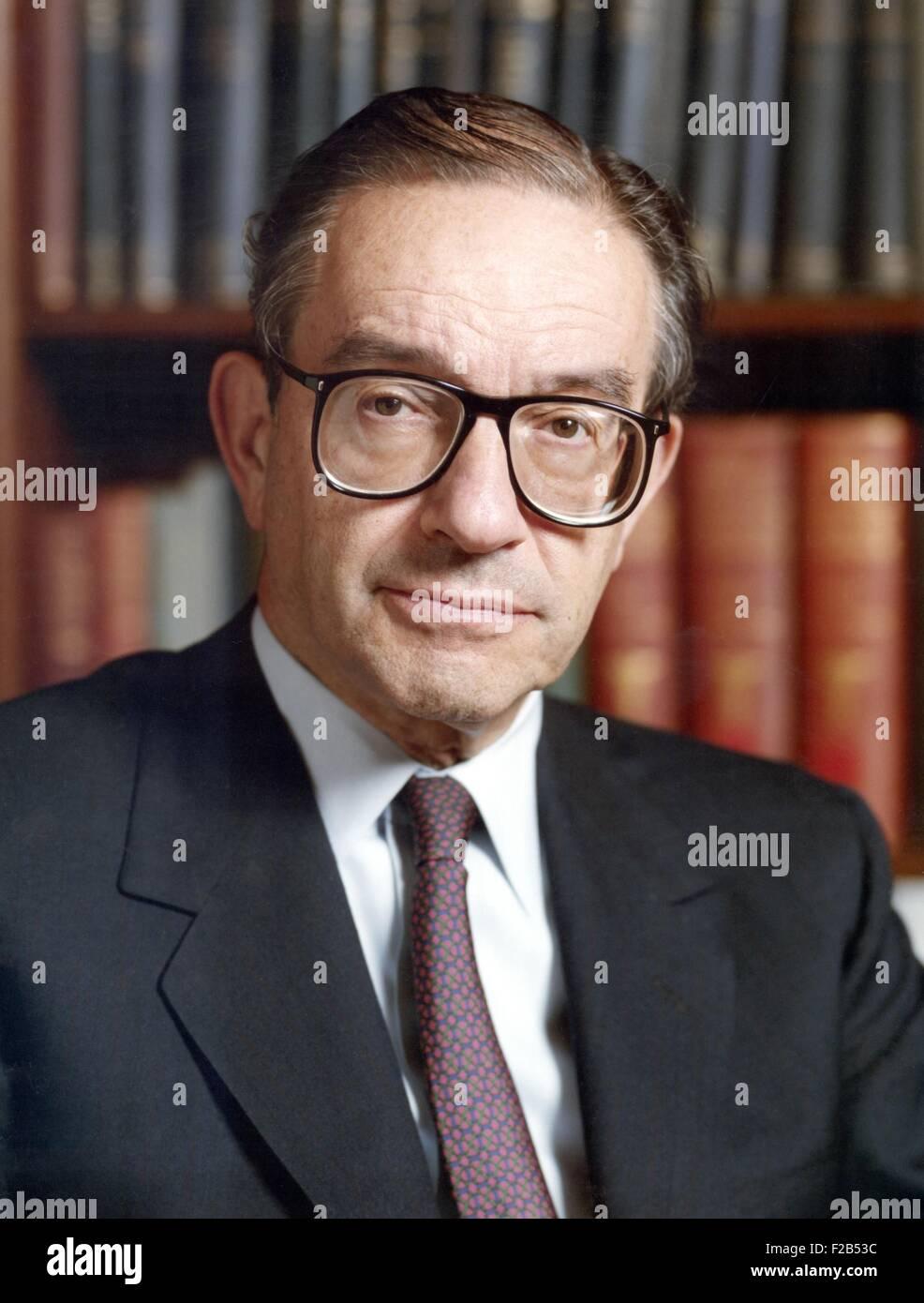 Alan Greenspan era il Presidente della Riserva Federale degli Stati Uniti dal 1987 al 2006. Mentre egli è stato Immagini Stock
