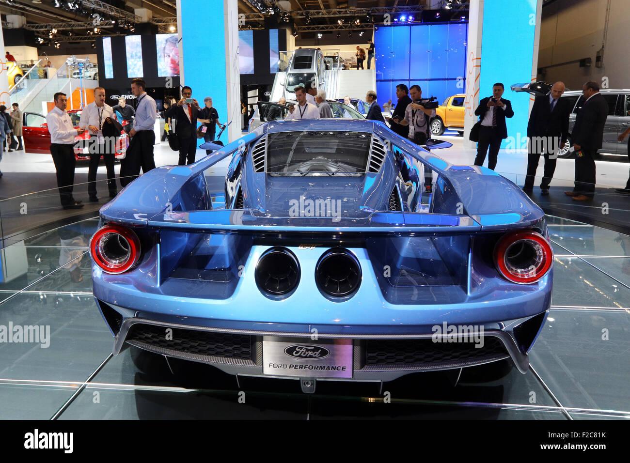 Frankfurt/M, 16.09.2015 - Ford GT concept car al Ford stand presso il 66° International Motor Show IAA 2015 Immagini Stock