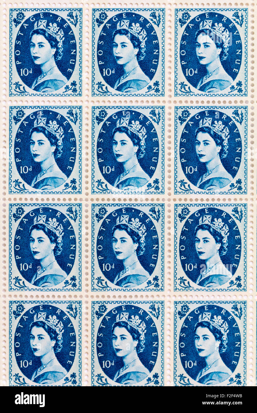 Foglio di anni cinquanta la British Royal Mail 10d blue francobolli dal Wildings problema definitivo con il ritratto Immagini Stock