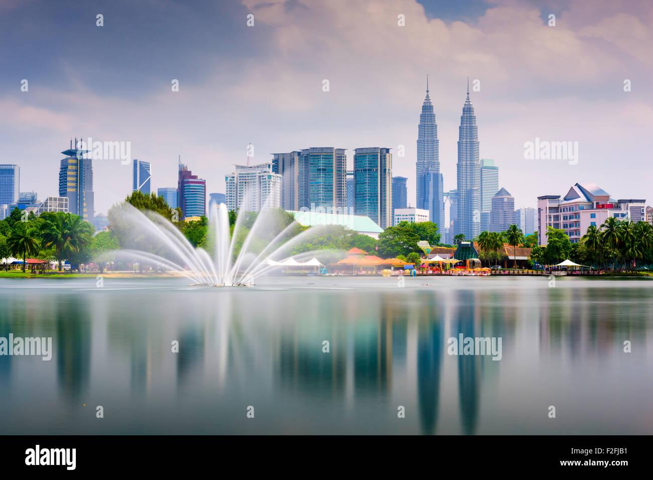 Kuala Lumpur, Malesia skyline a Titiwangsa Park. Immagini Stock