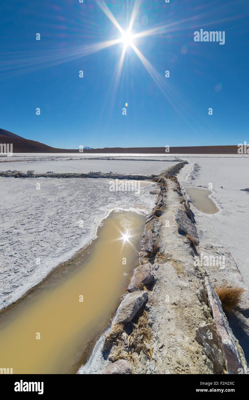 Ampio angolo di visione di un bacino di sale ('Sdaminozide Chalviri de') in controluce sulla strada per Immagini Stock