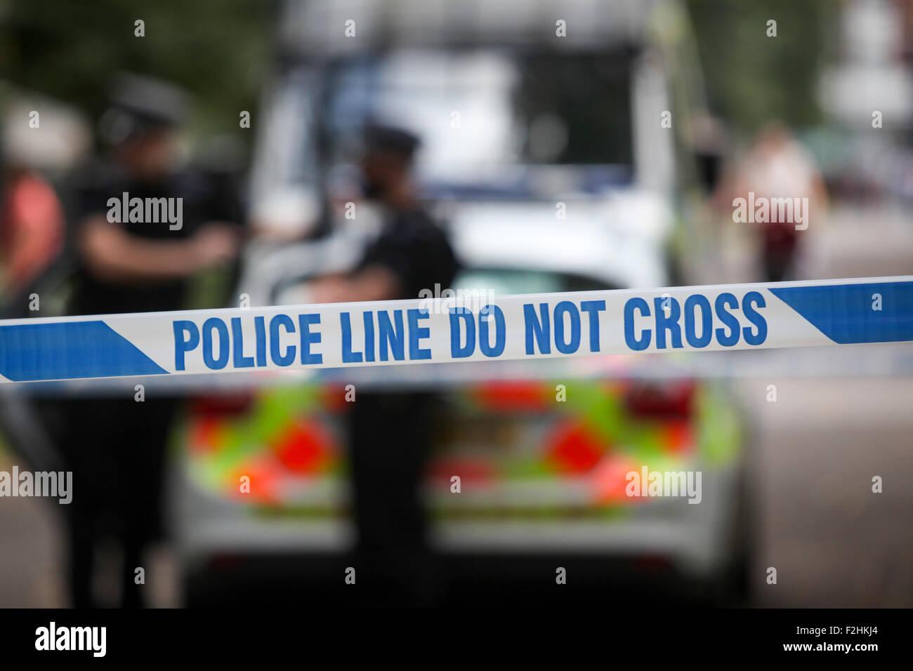 La polizia della scena del crimine UK a nastro Immagini Stock
