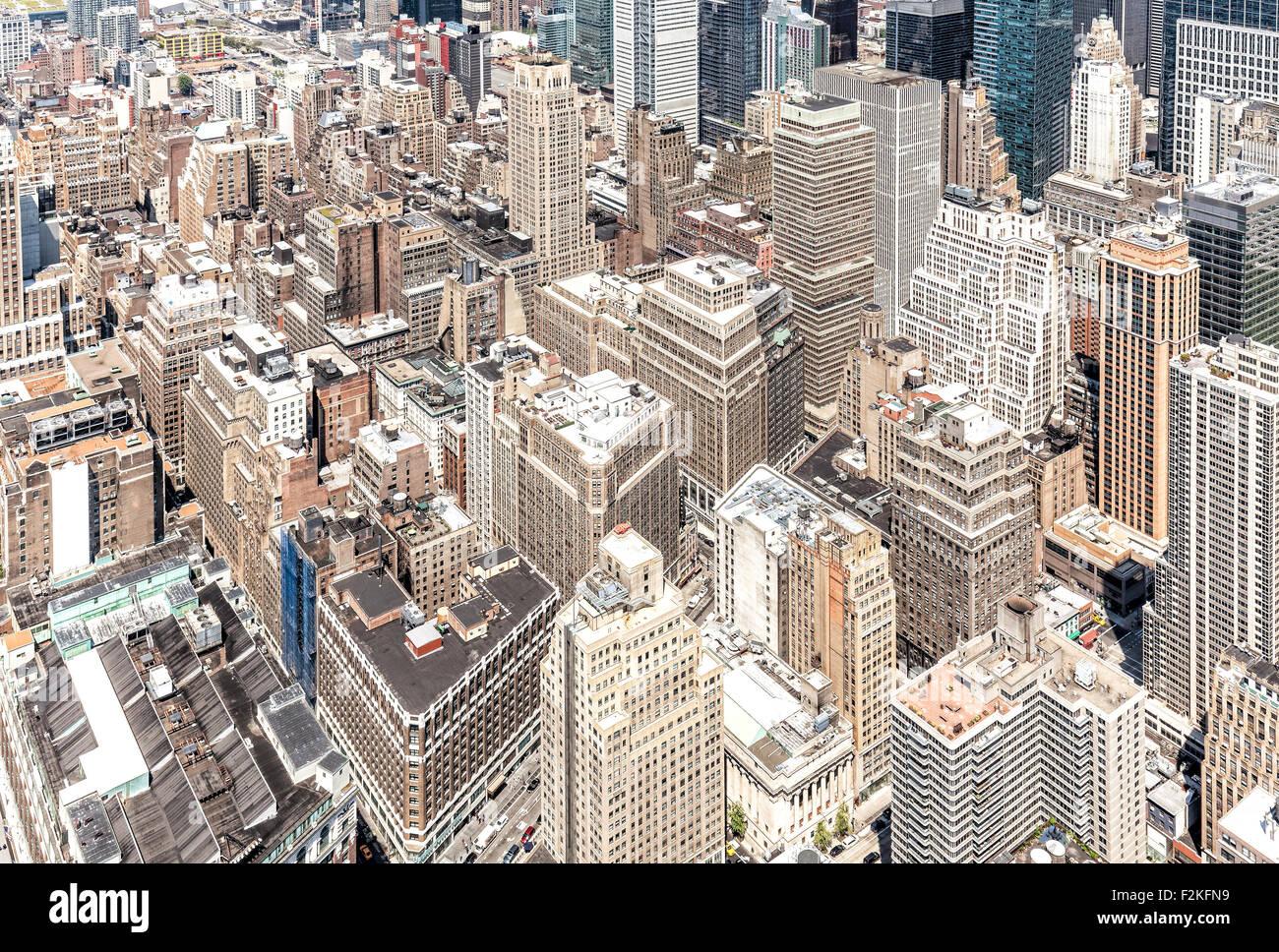 Vista aerea di Manhattan's downtown, NYC, Stati Uniti d'America. Immagini Stock