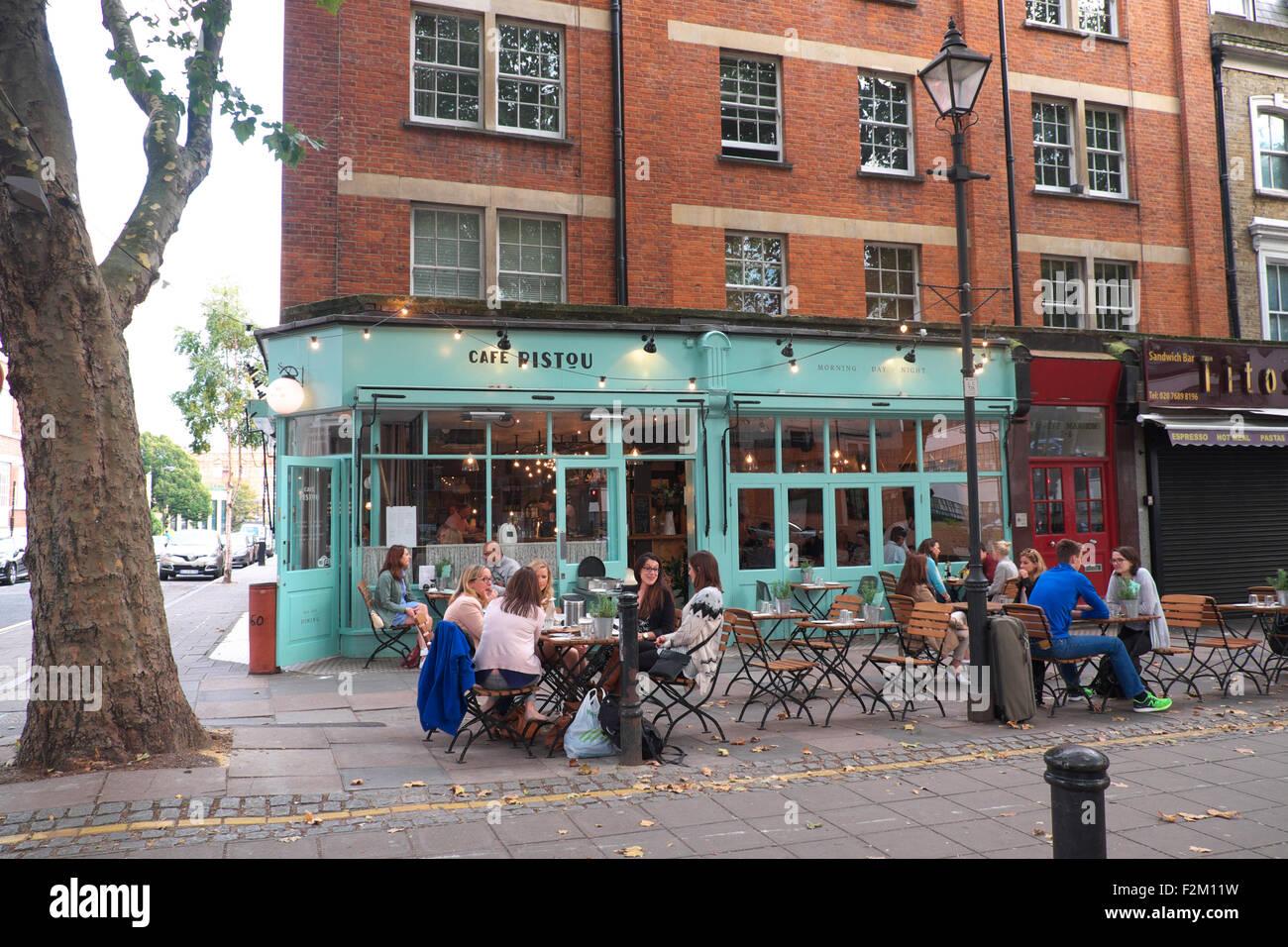 Cafe Pesto London EC1 UK aperto francese alfresco cafe bistro in Clerkenwell Foto Stock