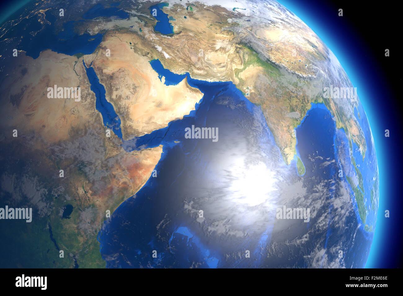 CGI-Visualisierung: Erdball im Weltall. Immagini Stock