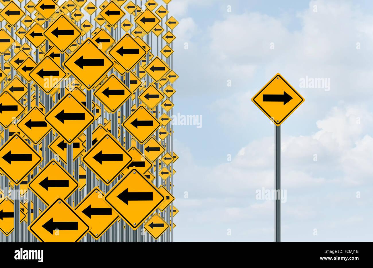 Direzione di individualità e il pensiero indipendente nozione come un gruppo di freccia direzionale segnali Immagini Stock