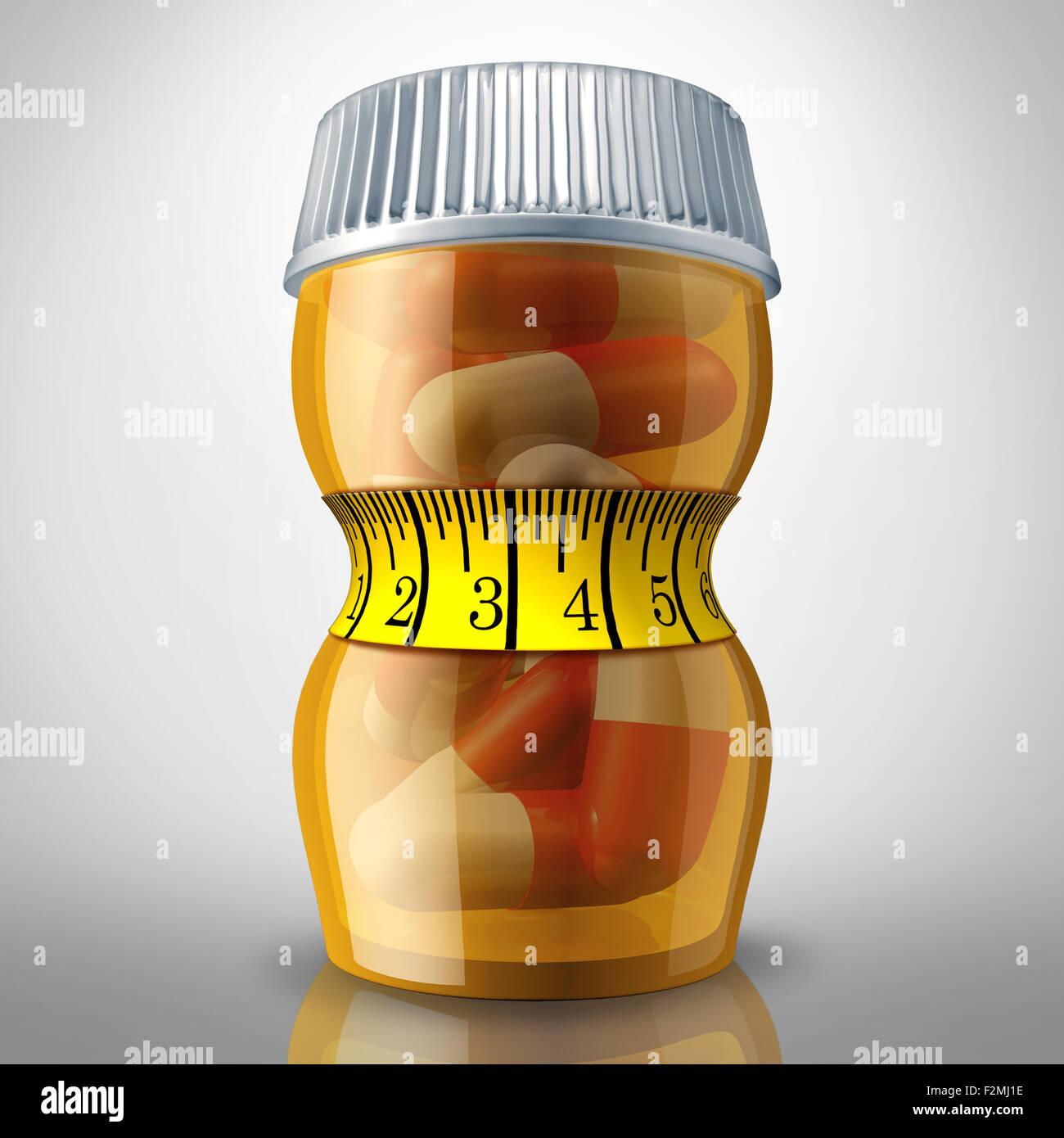 Pillole di dieta e di soppressione di appetito medicazione come una prescrizione flacone di farmaco schiacciata Immagini Stock