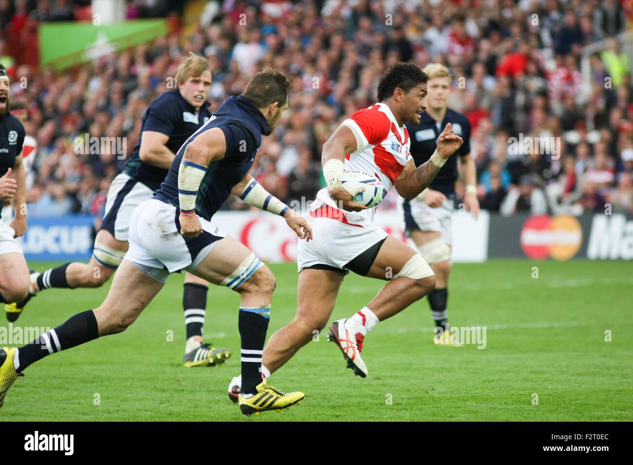 Gloucester, Regno Unito. 23 Settembre, 2015. Coppa del Mondo di Rugby 2015 - Scozia contro il Giappone, giocato Immagini Stock