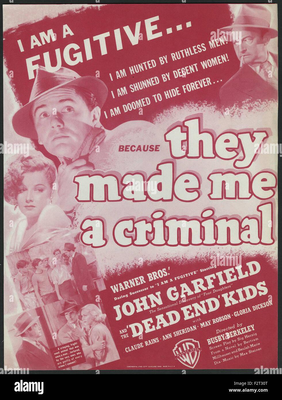 Mi hanno fatto un criminale - poster del filmato Immagini Stock