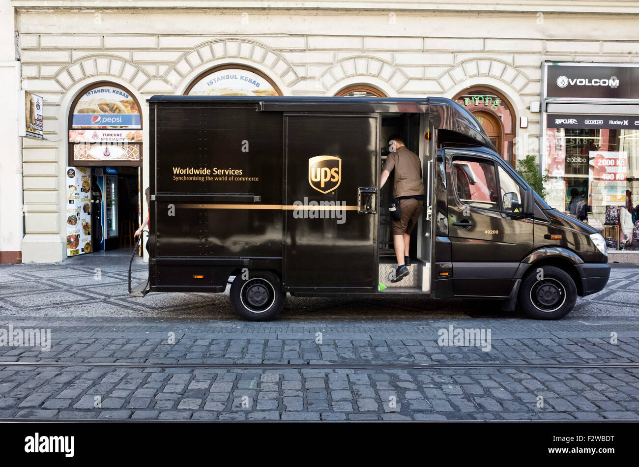 UPS mail delivery van Immagini Stock