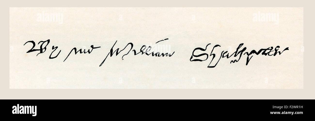 Firma di William Shakespeare, 1564 - 1616. Poeta inglese, drammaturgo, drammaturgo e attore. Foto Stock