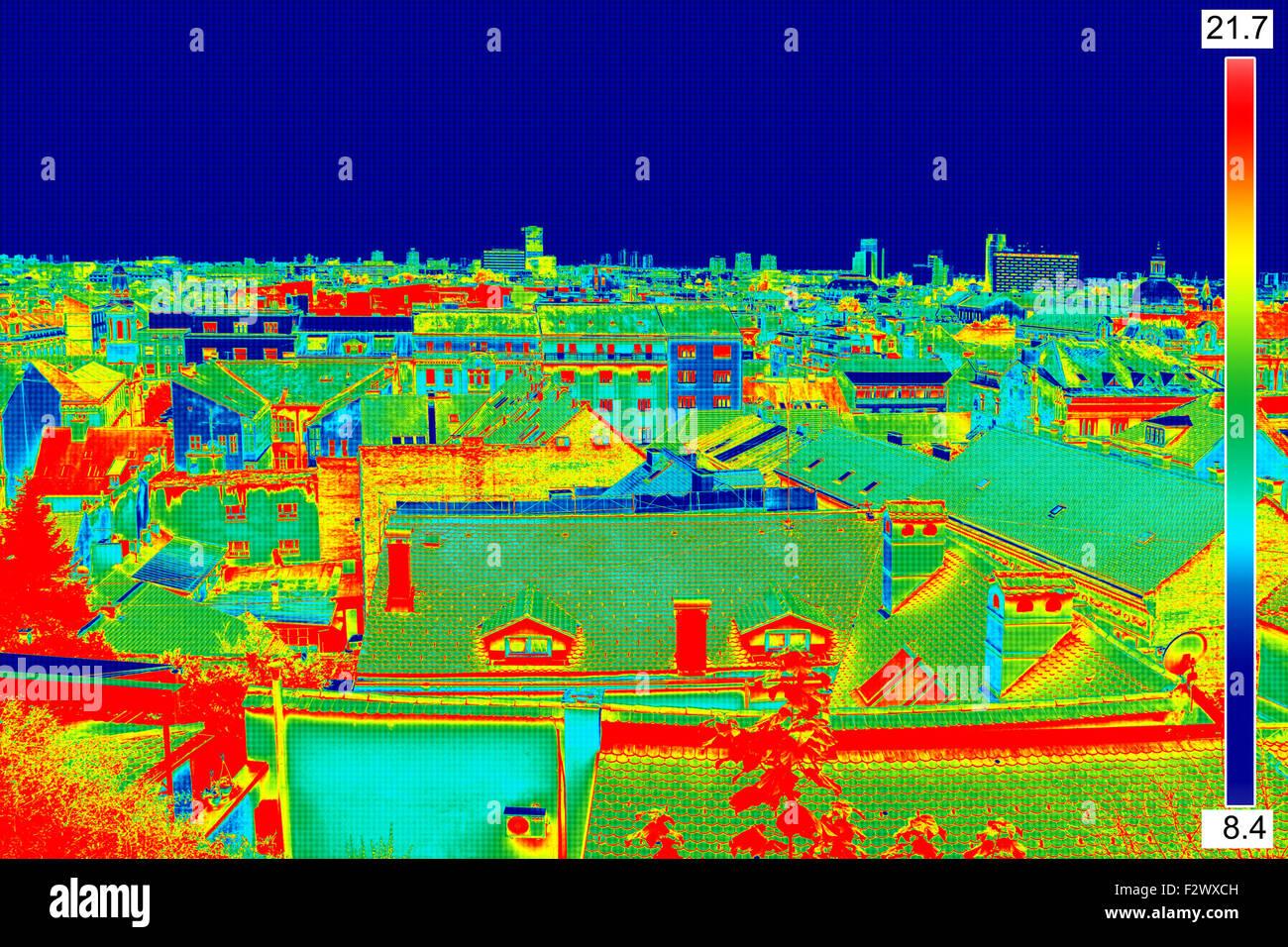 Infrarossi immagine thermovision panorama di Zagabria che mostra differenza temperatura Immagini Stock