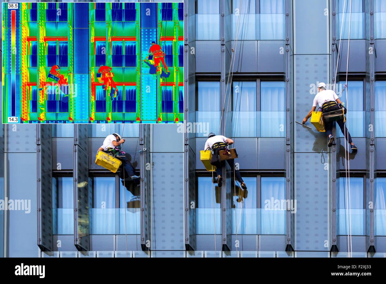 Thermovision a Infrarossi immagini reali e scalatori di tre finestre di lavaggio Immagini Stock