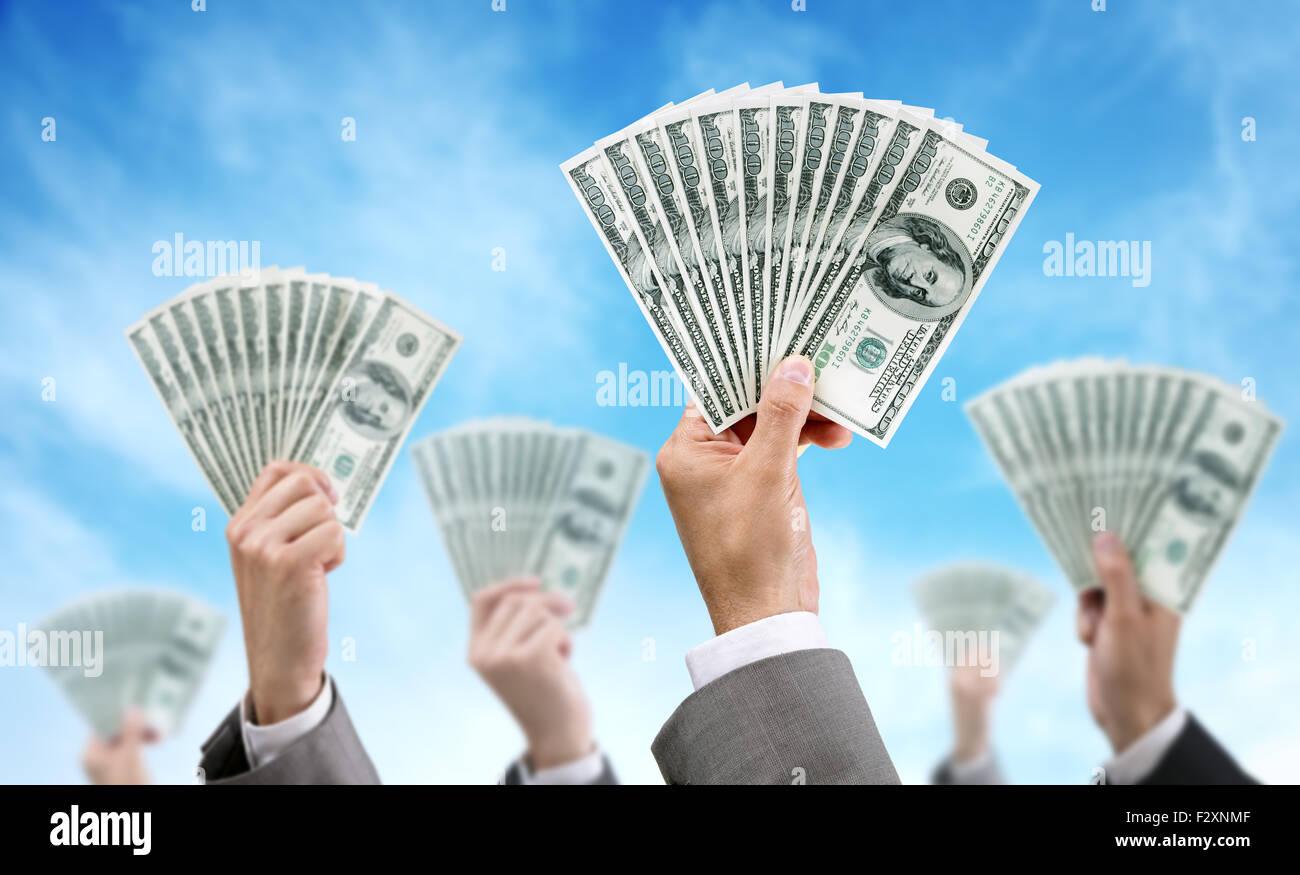 Il finanziamento della folla finanza e investimenti Immagini Stock
