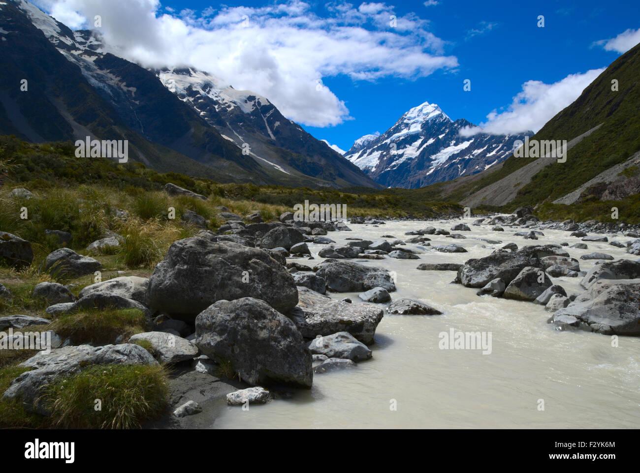 Il sentiero verso il Monte Cook, Nuova Zelanda Immagini Stock
